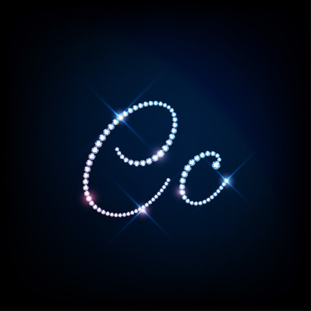 uppercase: Diamond glittering letter C of sparkling brilliants glitter font concept