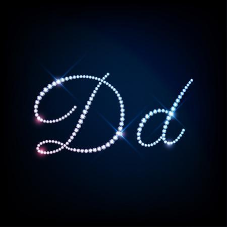 modish: Diamond glittering letter D of sparkling brilliants glitter font concept
