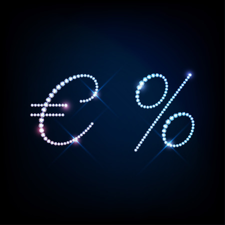 currency glitter: Diamond glittering Euro sign and percents sign of sparkling brilliants glitter font concept