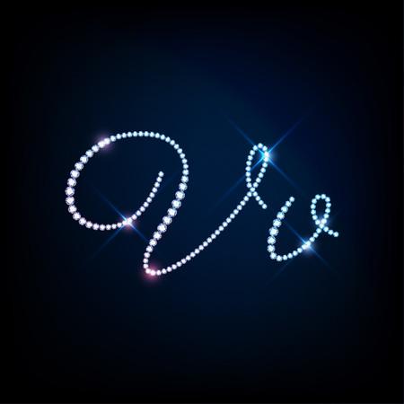 v alphabet: Diamond glittering letter V of sparkling brilliants glitter font concept