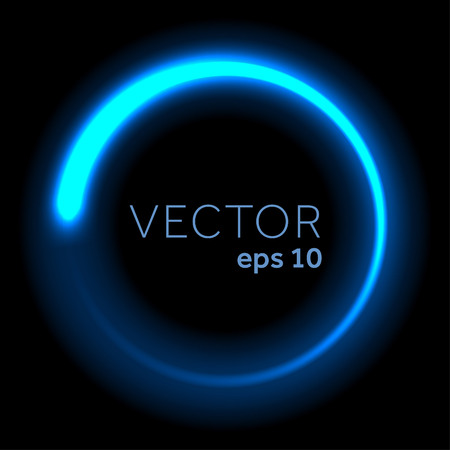 blue circle: Blue neon glittering circle