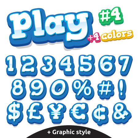 cartoon school girl: Children video game letters.