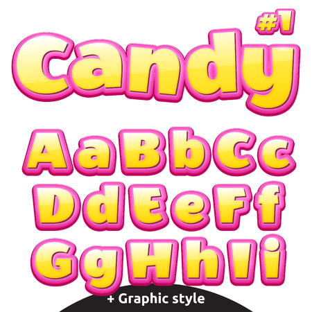 Funny childrens candy letters. Illustration