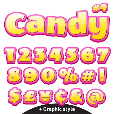 number of people: Funny childrens candy letters. Illustration