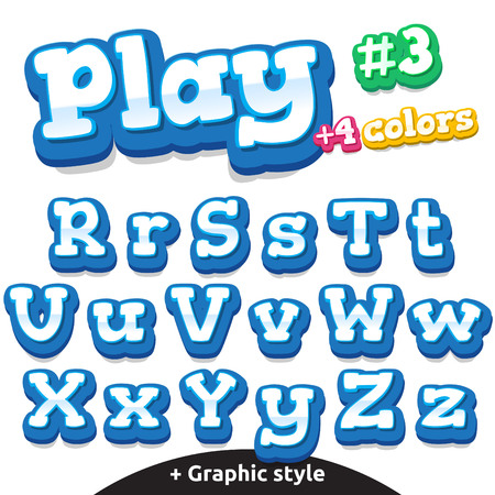 number cartoon: Children video game letters.