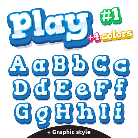 play boy: Children video game letters.