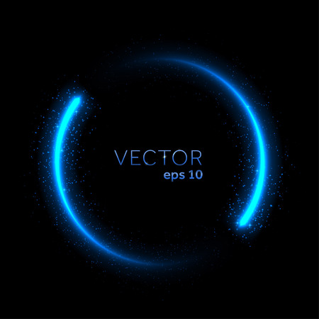 Double neon blue glittering star dust circle.
