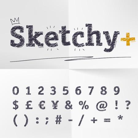 numeros: dibujados a mano los n�meros de croquis letras, signos de moneda y especiales Vectores