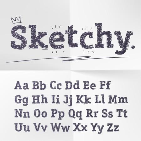 tipos de letras: dibujado a mano alfabeto boceto.