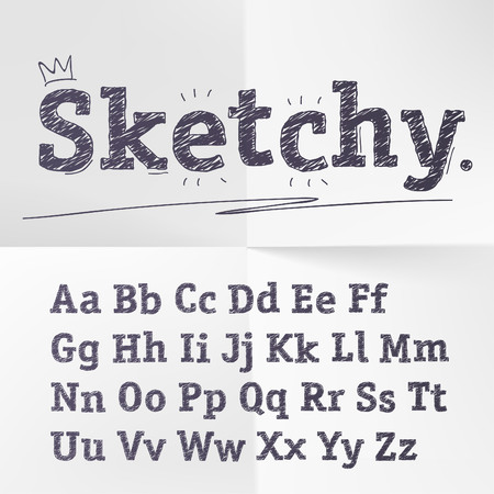 white letters: hand drawn sketch alphabet.