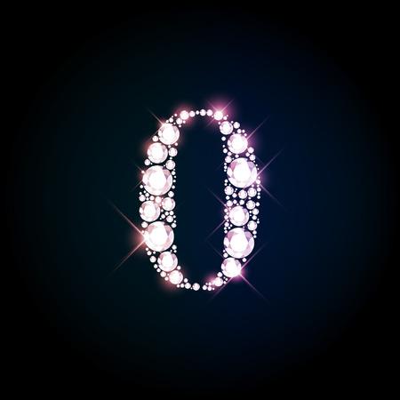 Diamond glittering number zero of sparkling brilliants (glitter font concept)