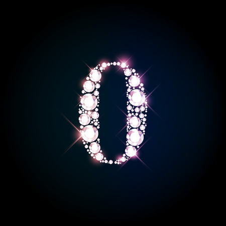 diamond background: Diamond glittering number zero of sparkling brilliants (glitter font concept)