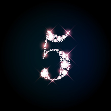 digit: Diamond glittering number five of sparkling brilliants (glitter font concept)
