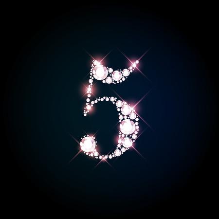 nombres: Étincelant diamant numéro cinq de brillants pétillants (paillettes concept de police) Illustration