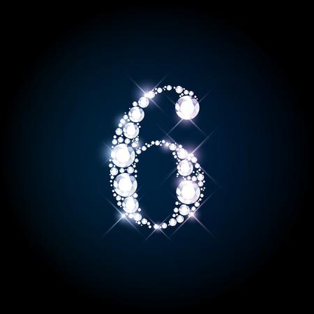 Diamant glinsterende nummer zes van de fonkelende briljanten (glitter lettertype concept)