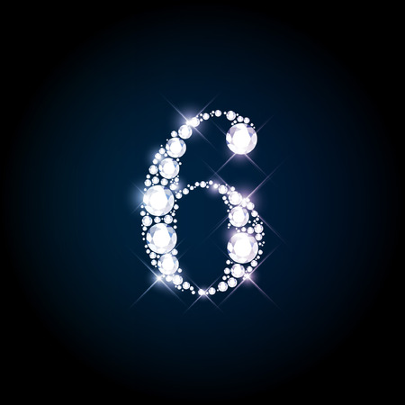 Diamond glittering number six of sparkling brilliants (glitter font concept)