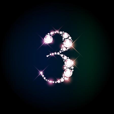 numeros: Diamante brillante n�mero tres de brillantes espumosos (brillo concepto de fuente)