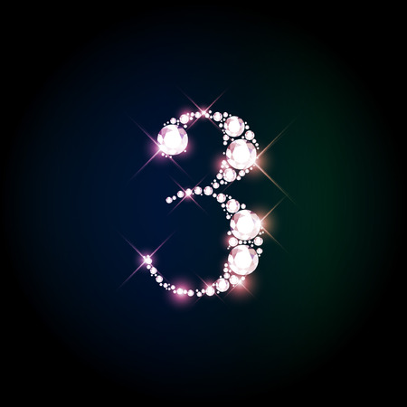 Diamond glittering number three of sparkling brilliants (glitter font concept)