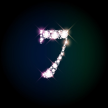 Diamond glittering number seven of sparkling brilliants (glitter font concept)
