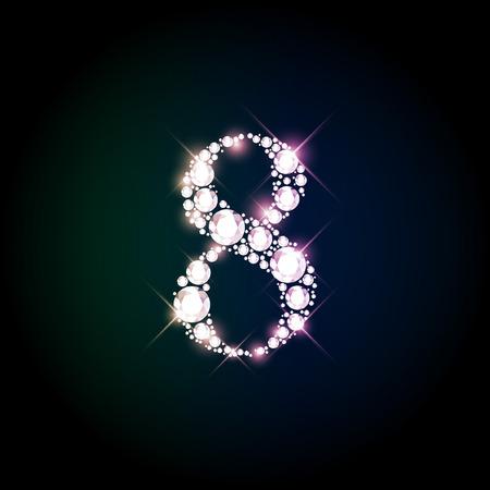 Diamond glittering number eight of sparkling brilliants (glitter font concept)