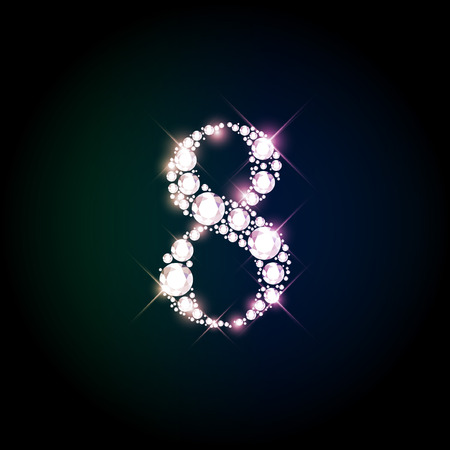 number eight: Diamond glittering number eight of sparkling brilliants (glitter font concept)