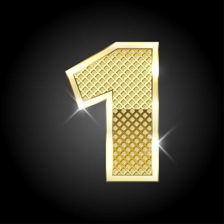 nombres: lettre d'or métallique du nombre Illustration