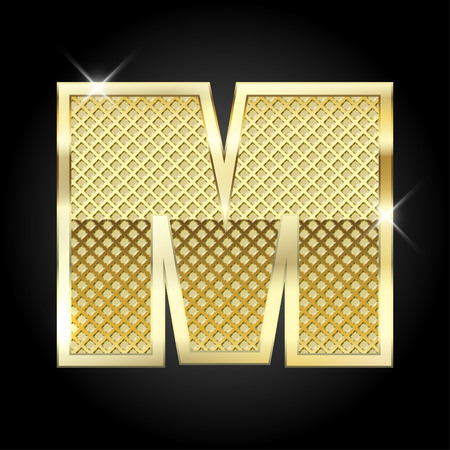 gold metal: Vector metal gold letter from alphabet