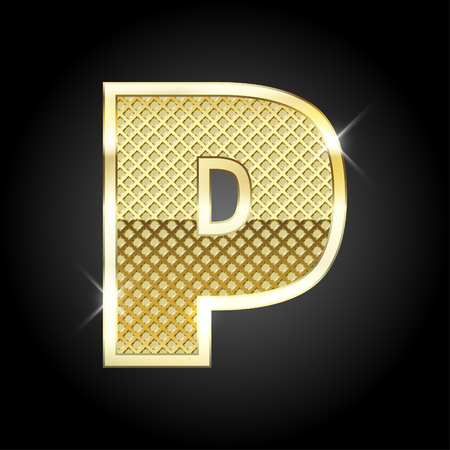 gold metal: metal gold letter from alphabet Illustration