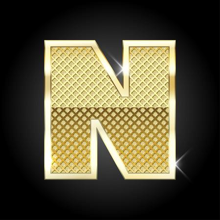 polished: metal gold letter from alphabet Illustration