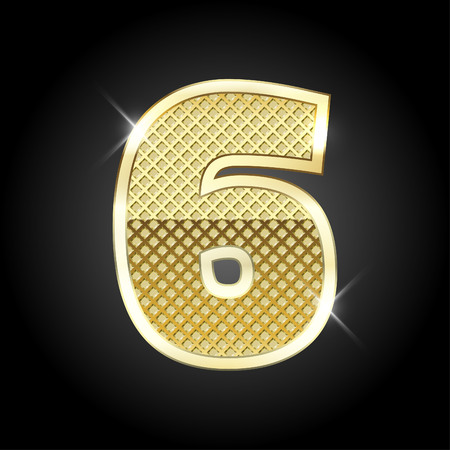 six: metal gold letter of number