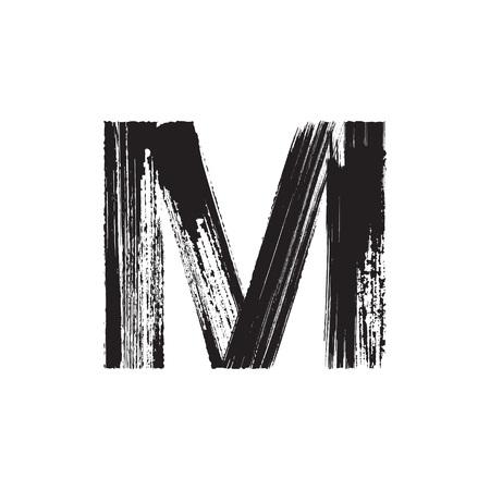 tipos de letras: Carta de vector may�scula M dibujado a mano con pincel seco