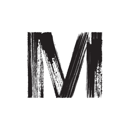 Uppercase vector letter M hand-drawn with dry brush