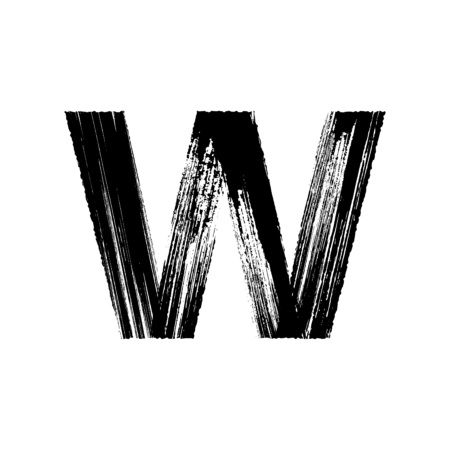 Uppercase vector letter W hand-drawn with dry brush Illustration