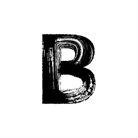 b: Uppercase vector letter B hand-drawn with dry brush