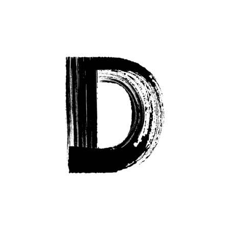 english letters: Uppercase vector letter D hand-drawn with dry brush Illustration