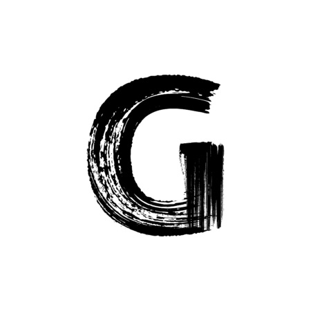 english letters: Uppercase vector letter G hand-drawn with dry brush