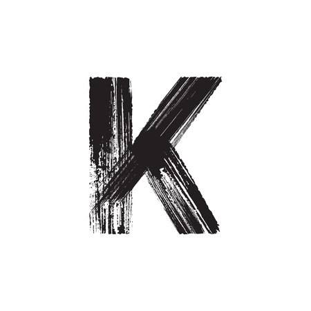 letter k: Uppercase vector letter K hand-drawn with dry brush Illustration