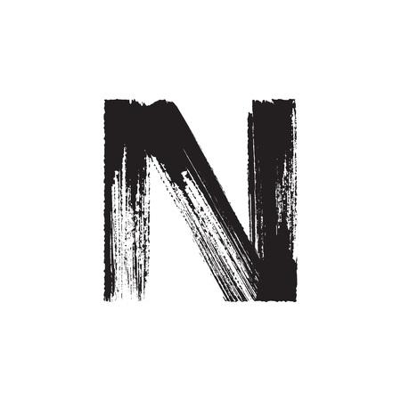 Lettre de vecteur majuscules N dessinés à la main avec une brosse sèche Banque d'images - 42792503