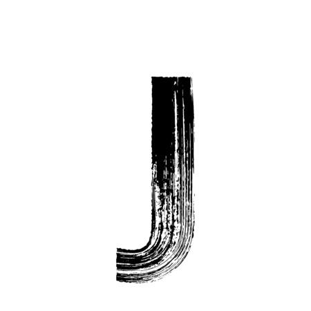tipos de letras: Letra mayúscula J vector dibujado a mano con pincel seco