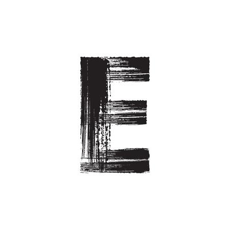e ink: Uppercase vector letter E hand-drawn with dry brush Illustration