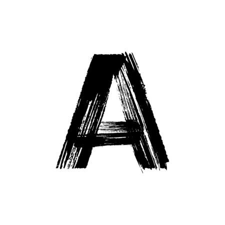 carta: Carta de vector mayúscula Un dibujado a mano con pincel seco