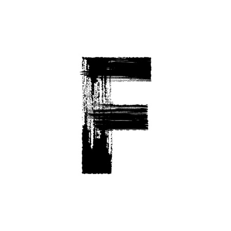 dry brush: Uppercase vector letter F hand-drawn with dry brush