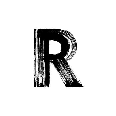 calligraphie arabe: Lettre de vecteur R majuscule dessinée à la main avec une brosse sèche