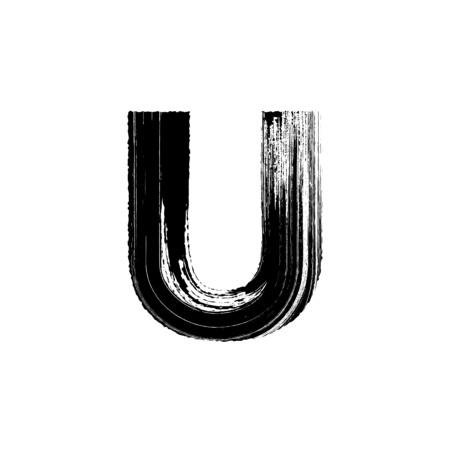 Hoofdletters vector letter U met de hand getekend met droge borstel Stock Illustratie