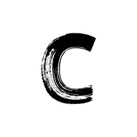 Uppercase vector letter C hand-drawn with dry brush Illustration
