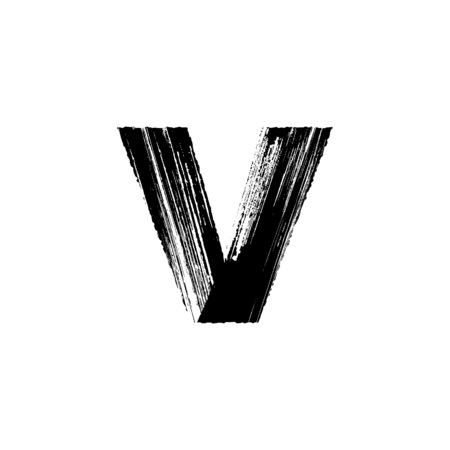 dry brush: Lowercase vector letter v hand-drawn with dry brush Illustration