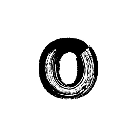 dry brush: Lowercase vector letter o hand-drawn with dry brush Illustration