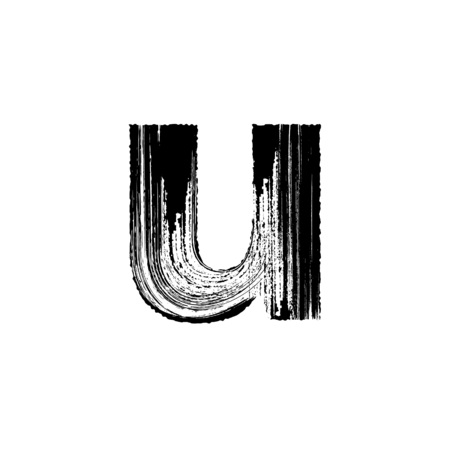 dry brush: Lowercase vector letter u hand-drawn with dry brush Illustration