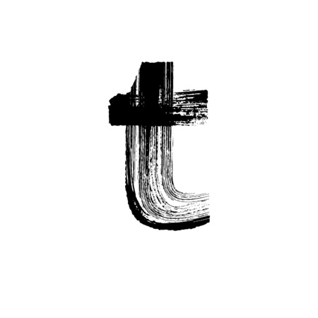 Lowercase vector letter t hand-drawn with dry brush