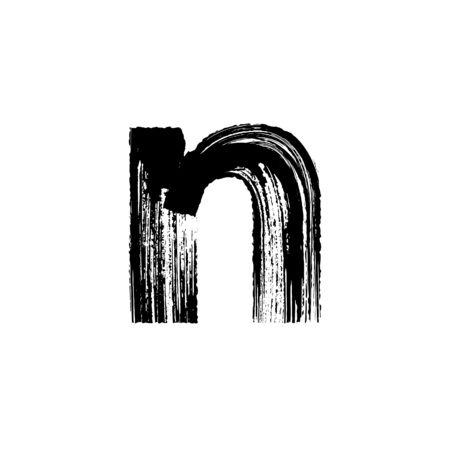 N: Lowercase vector letter n hand-drawn with dry brush